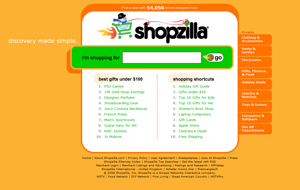 Screen capture of the Shopzilla homepage