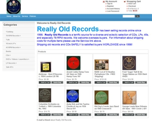 Screen capture of the Really Old Records' home page.