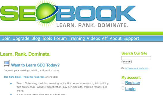 SEO Book home page.