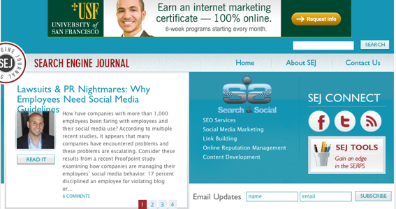 Search Engine Journal home page.