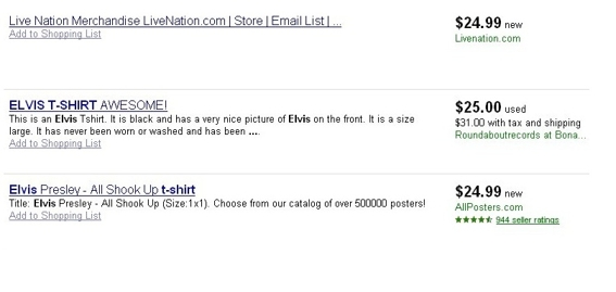 Google shopping results for Elvis t-shirt.