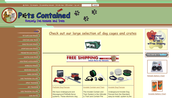 PetsContained.com, home page screenshot.