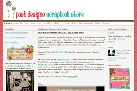 Screenshot of Poshscrapbookstore.ning.com.