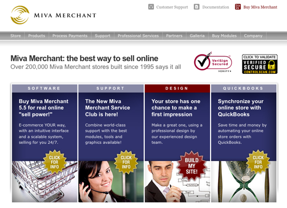 Screen capture of Miva Merchant's home page.