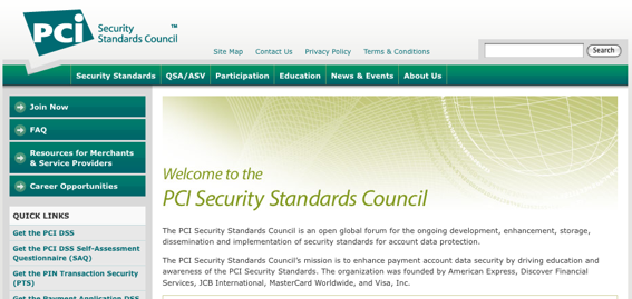 Screen capture of PCI Security Council's home page.