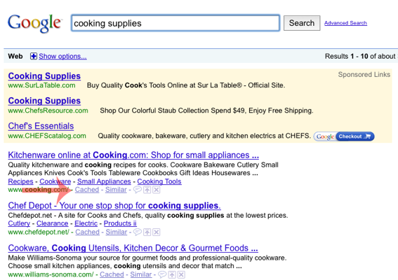 "Screen capture of Google search results for ""cooking supplies,"" highlighting a ""Cached"" link in the results."