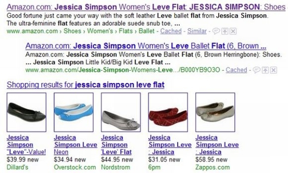 "Screenshot of Google search results for ""Jessica Simpson Leve Flat."""