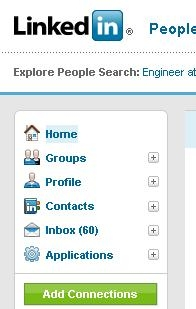 Navigation menu in LinkedIn.