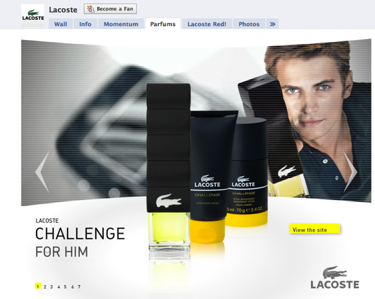 Screenshot of Lacoste's 'Parfum' page on Facebook.