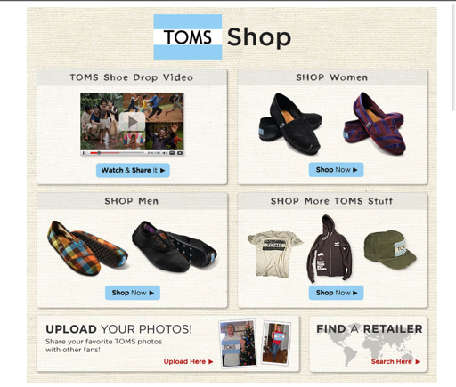 Screenshot of TOMS Shoes page on Facebook.