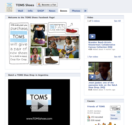 Screenshot of TOMS Shoes video page on Facebook.