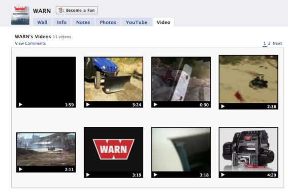 Screenshot of WARN videos on Facebook.