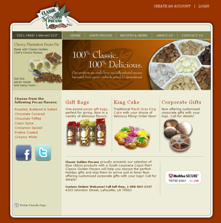 Classic Golden Pecans website.