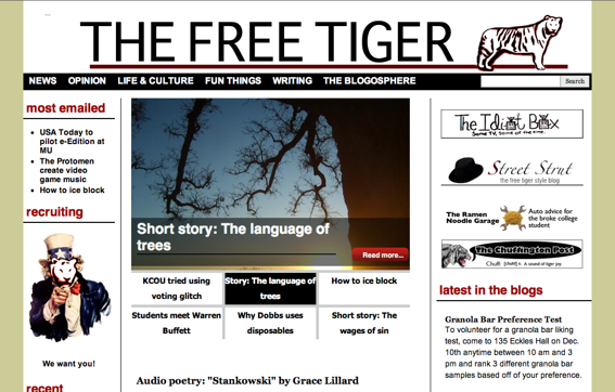 The Free Tiger home page.