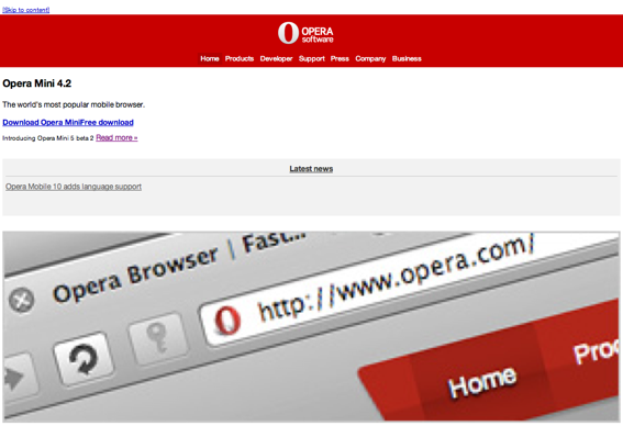 Opera home page smaller.