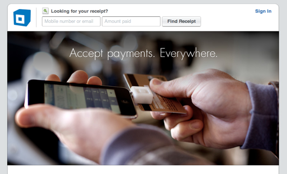Screen capture from Square's home page.