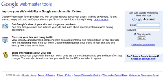 Google Webmaster Tools home page.