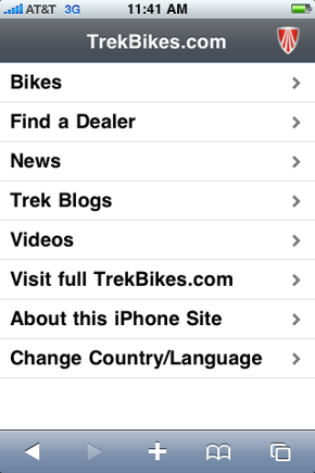 Screen capture of Trekbikes.com home page from an iPhone.