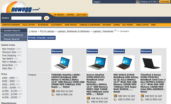 Screen capture of Newegg's laptop comparison table.