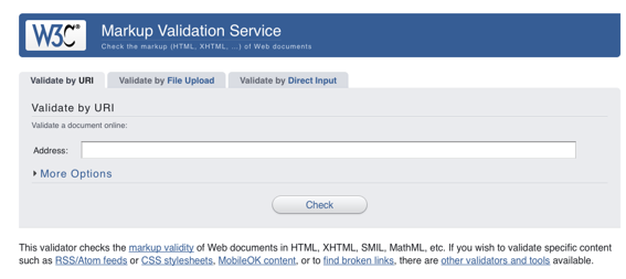 Screen capture of the code validator from W3C.