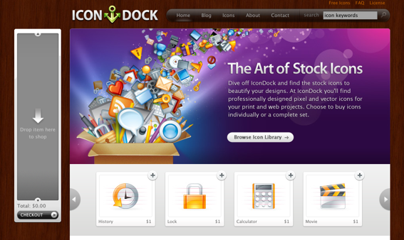 Screen capture of Icon Dock's drag-and-drop shopping cart (on left).