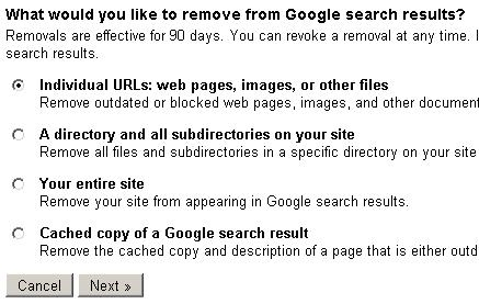 "Google Webmaster Tools ""Removal options."""