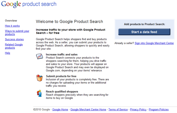 Screen capture of Google Product Search backend home page.