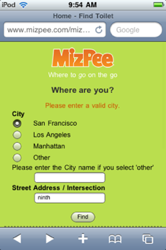 MizPee home page on mobile-optimized site.