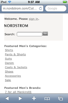 Nordstrom home page on mobile-optimized site.