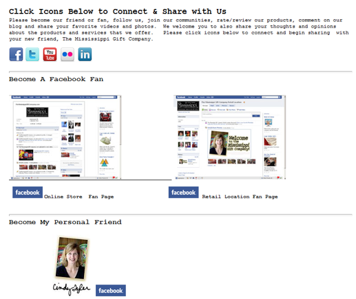 "The ""Connect and Share"" Facebook detail page."
