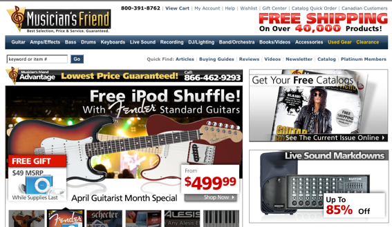 musiciansfriend shopping experience capture screen