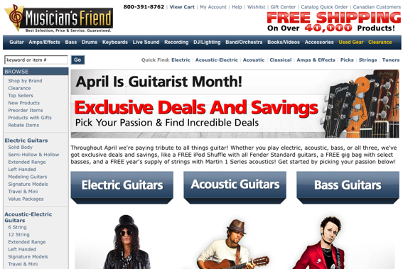 "MusiciansFriend.com ""Guitar"" product page screen capture."