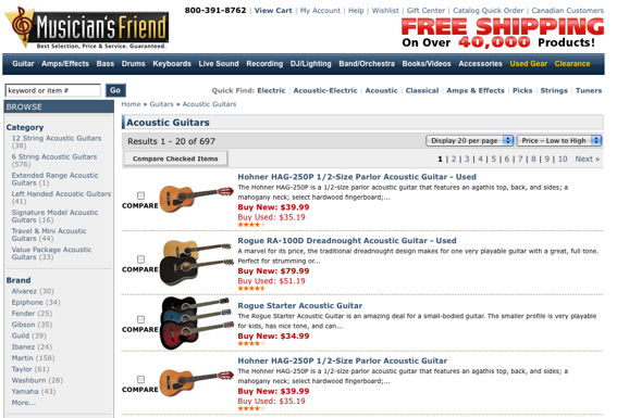 "MusiciansFriend.com ""Acoustic Guitar"" product page, sorted ""Price - Low to High."""
