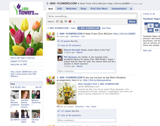 Screen capture of 1-800 Flowers.com shop on Facebook.