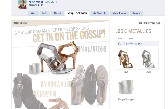 Screen capture of Nine West shop on Facebook.