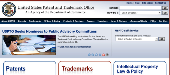 USPTO.gov, home page screen capture.