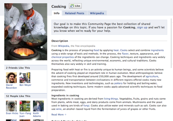 Screenshot of a Community Page example.