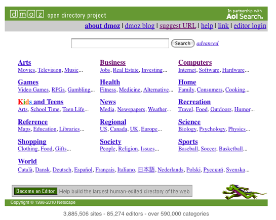 DMOZ open directory project, home page screen capture.