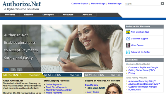Screen shot of Authorize.Net's home page.