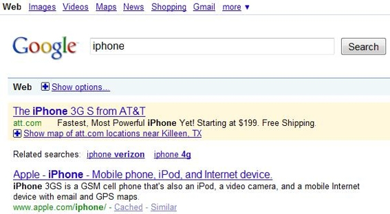 "Screenshot of Google search for the keyword ""iPhone."""