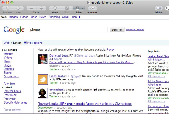 "Screenshot of Google search for the keyword ""iPhone"" after ""show options"" and ""latest."""