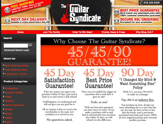 Screenshot of Guitar Syndicate's home page.
