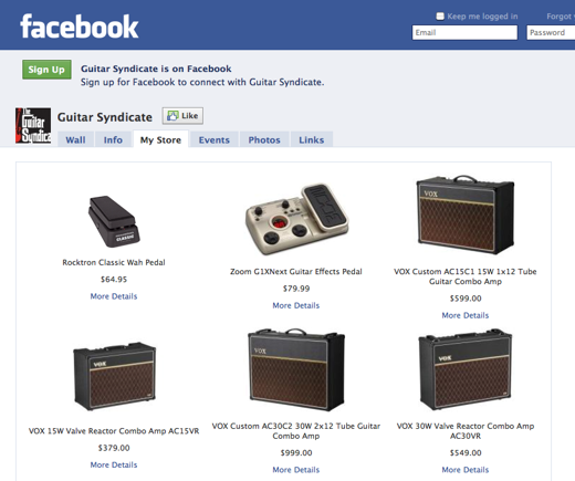 Screenshot of Guitar Syndicate's Facebook store page.