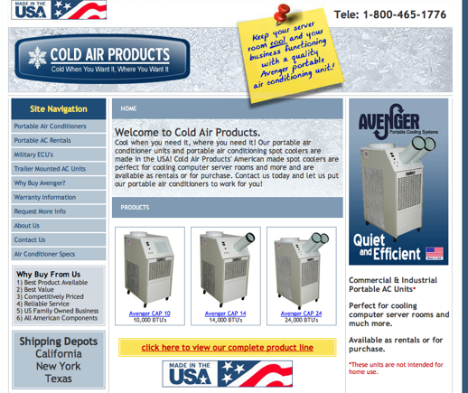 Cold Air Products, regular site.