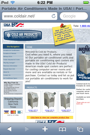 Cold Air Products, mobile site.