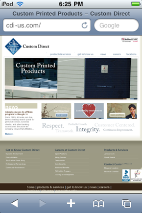 Custom Direct, mobile site.