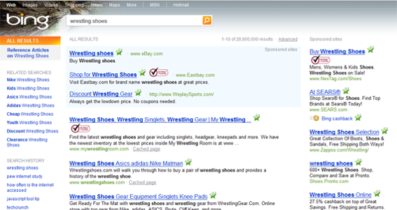 Screenshot of LinkScanner marks on Bing search results.