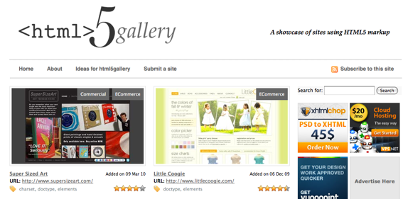 Screen capture of HTML5Gallery.com, showing sites built with HTML 5.