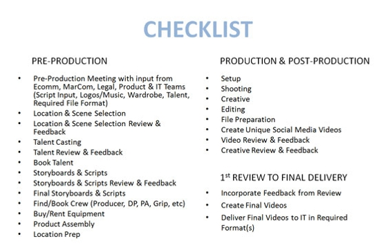 Checklist for video production.