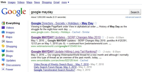 "Screenshot of search results on Google for ""google mayday."""